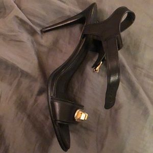 Coach leather strappy heels with Gold embellishmen